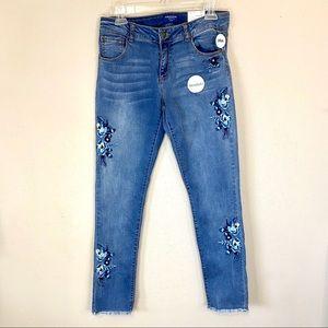 "NWT Skinny Embroidered Jeans Raw Hem 30"" Waist"